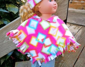 Fleece poncho and hat fits like American Girl doll clothes, AG doll clothes, 18 inch doll clothes, doll coat, doll hat, handmade