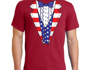 Patriotic Tux 4th of July T-shirt