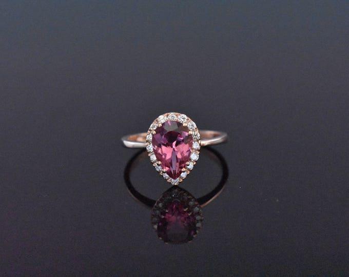 14K Rose Gold Diamond and Pink Tourmaline Ring