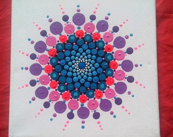 Psychedelic Mandala, original art, acrylic on canvas
