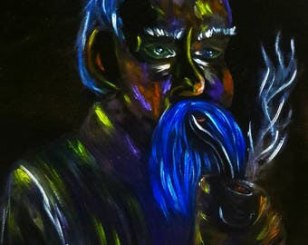 "8x11 reproduction art print titled ""old blue beard"""