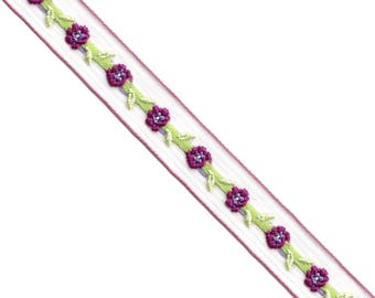 15 Yards Floral Embroidery Sheer Ribbon