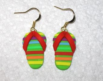 Rainbow Stripe Flip Flop Earrings,Rainbow Sandal Earrings,Colorful Earrings,Beach Jewelry,Polymer Clay Earrings,Gold Earrings,Flip Flops