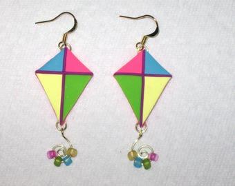 Kite Earrings,Polymer Clay Earrings,Pink Purple Blue Green Yellow Kites,Gold Earrings,Flying Kite Earrings,Colorful Earrings,Beach Jewelry