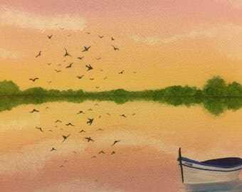 Original watercolour painting of a row boat on a lake with a flock of birds flying over head.