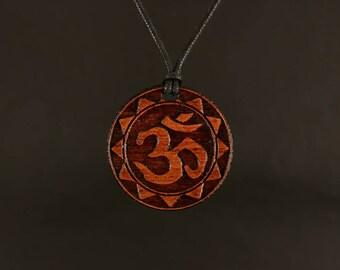 Ohm Necklace (Sun Border) - Crown Chakra Pendant - Bubinga Wood Pendant