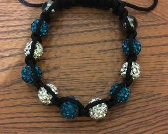 Turquoise & White Bling Bracelet