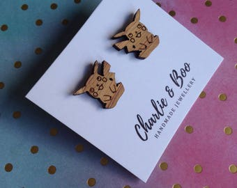 Character Studs - licensed character Studs - Laser Cut Bamboo - Anime Studs - character Earrings - licensed character  Earrings