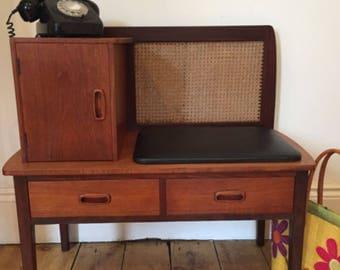 Vintage mid century teak telephone bench