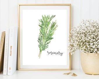 Herbs Printable, Rosemary Printable, Herbs Wall Art, Herbs Print, Rosemary Art, Rosemary Print, Rosemary Poster, Kitchen Printable