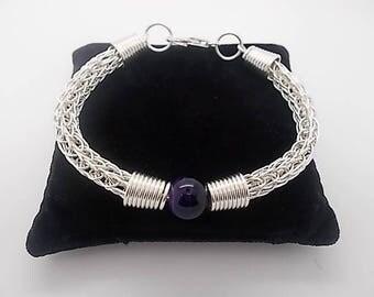 Bracelet with Amethyst Bead Solid Sterling Silver Bracelet Handmade Viking Knit Weave Bracelet