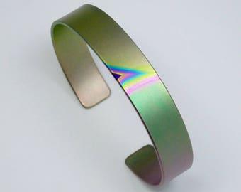 Anodized titanium bracelet cuff 11 mm wide. Titanium jewelry.