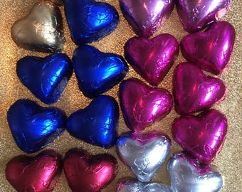 100 x Delicious Foiled Milk Chocolate Hearts Wedding Favour Table Decoration