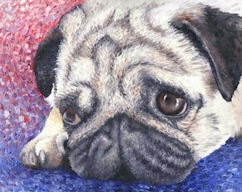 "Pug Dog Art Print of Oil Painting - 8 x 10"""