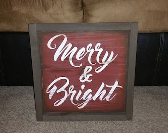 Christmas Merry and Bright framed sign
