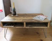 Reclaimed Rustic Coffee Table Hairpin legs pallet wood coffee table rustic handmade industrial TV stand