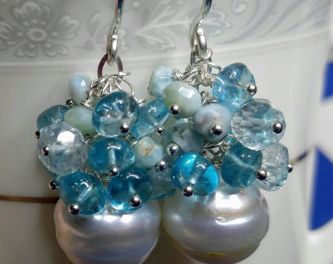 South sea pearl earrings, blue gemstone clusters, Aquamarine, Larimar and Apatite gemstones, large white South sea pearls, dangle earrings