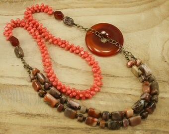 "Turtle Jasper, Red Agate, and Pink Coral 26"" Long Asymmetrical Gemstone Necklace - Bohemian Statement Necklace, Sundance Style Jewelry"