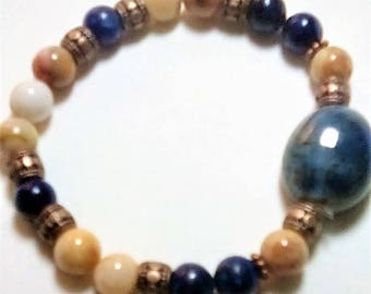 Moroccan Agate and Lapis Lazuli Bracelet