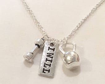 I Will Necklace, Dumbbell Charm, Kettlebell Jewelry, Fitness Necklace, Motivational Jewelry, Gift Ideas, Gym Jewelry, Gifts for Her, Coach,