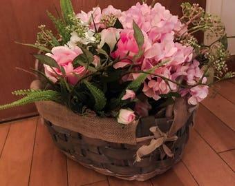 Custom made Vintage basket with floral arrangements - tailor made for wedding decorations