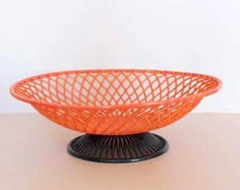 Orange plastic basket, vintage fruit basket, bread basket, vintage basket, grofilex basket, made in france basket