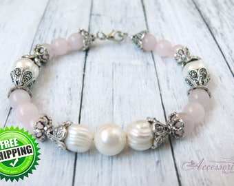 White Natural Pearl Rose Quartz Crystal bracelet Love energy Romance Blush Pink Feminine Bridal Wedding jewelry Victorian Gemstone bracelet