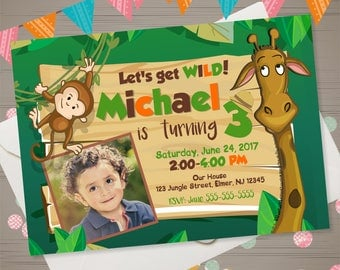 JUNGLE Birthday Invitation Zoo Birthday Invitation Zoo Invitation Zoo Animals Photo Invite Safari Birthday Party Animals Monkey Giraffe