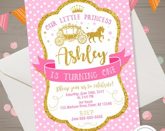 Princess Birthday Invitation First Birthday Princess Party Little Princess Carriage Invite Once Upon a time Invitation Pink & Gold Glitter