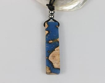 Unique resin wood necklace with leather strap, necklace, Resin wood, nature, blue, for him and her