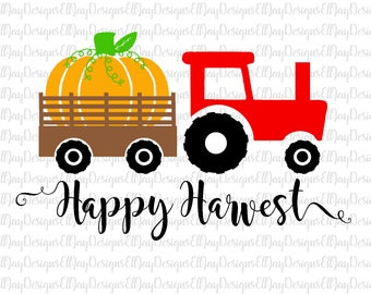 Happy Harvest svg, pumpkin svg, tractor svg, fall svg, tractor cut files, happy fall svg cut file, pumpkin patch svg, shirt svg pumpkin cut