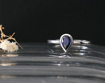 Elegant Bezel Ring Natural 6*4mm Pear Cut Blue Sapphire Ring Gemstone Bridal Ring 14K White Gold Sapphire Engagement Ring Anniversay Ring