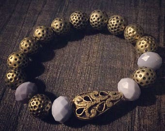 REF #32 - Bohemian Bracelet, gold and purple 15 cm