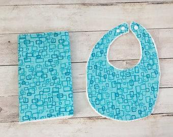 geometric bib set - drool bib and burp rag - dribble bib and burp cloth - baby accessories -  baby shower gift -  baby bib and burp cloth -