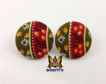 African Earrings, Fabric Stud Earrings, Ankara Print Stud Earrings, Handmade Fabric Earrings, African Tribal Earrings, Button earrings