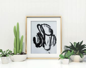 Original Abstract Painting on Paper 11x15 with black and white  UNFRAMED  artwork