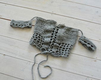Grey crochet bardot top