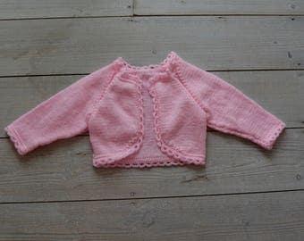 Pink Glitter Baby Crop Cardigan