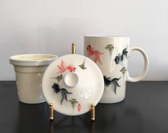Vintage,Oriental Tea Cup, Lidded Tea Cup And Strainer,Oriental Decor,Mug,Asian Interiors,Koi Fish,Tea Cup,Oriental,Japanese Tea Cup,Japanese