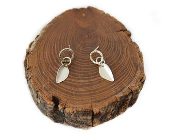 Circle & Leaf Studs Sterling Silver Earrings