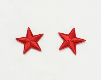 2x red stars military pinup Rockabilly fashion custom Iron On Embroidered Patch Applique Star rock tattoo