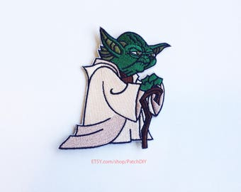 Patch YODA master Jedi Star Wars iron on applique Embroidered Green character Force DIY halloween costume kid craft fun custom jacket hat