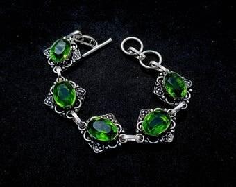 Green Topaz Silver Bracelet