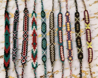 Assorted flat braided string bracelets