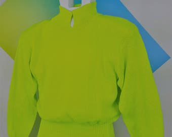Neon Sweater New Wave Shoulder Pads Sweater Yellow Bright Fashion