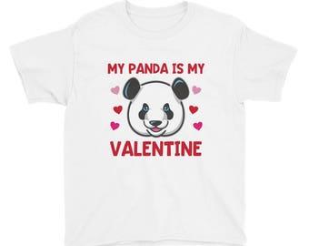 My Panda is My Valentine Kids Valentines Day Shirt Girls Panda Bears Animal Cute Red Pink Hearts Childrens T Shirt