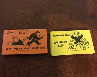 Vintage Chance and Community Chest Monopoly Cards