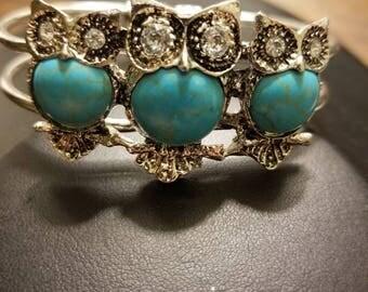 Turquoise Crystal  owl bracelet