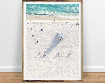 Beach Photography Aerial People on the Beach Art Aerial Beach Photo People On Beach Lifeguard Hut Instant Printable Digital Print Download