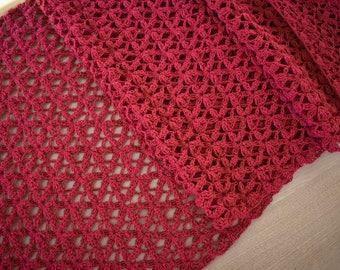 Hand Crochet Red Table Runner   Table Linen Dining Decor Flower Oversized  Table Runner Large Table